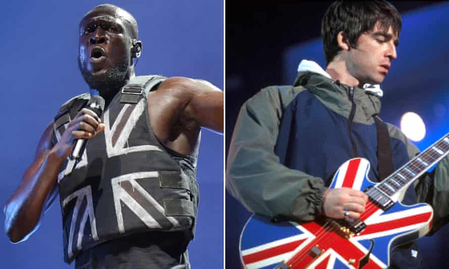 Stormzy on stage at Glastonbury earlier this year, and Gallagher on stage at Maine Road in 1996.