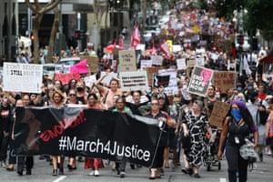 Protestors march in Brisbane.