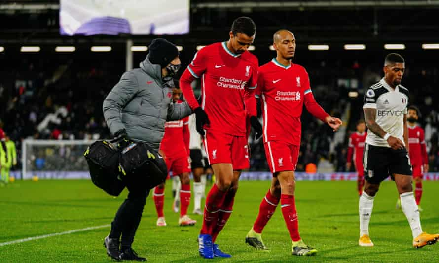 Joël Matip was forced off with a back spasm during Liverpool's draw at Fulham