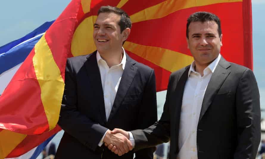 Alexis Tsipras (left) and Zoran Zaev in June