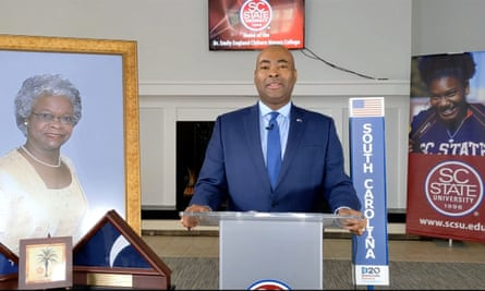 Jaime Harrison speaks at the Democratic national convention via video feed in August.