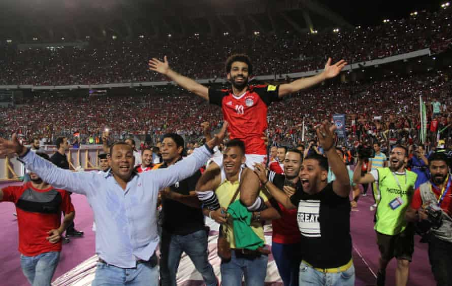 Mohamed Salah is held aloft by fans after scoring the winner against Congo which qualified Egypt for the 2018 World Cup in Russia.