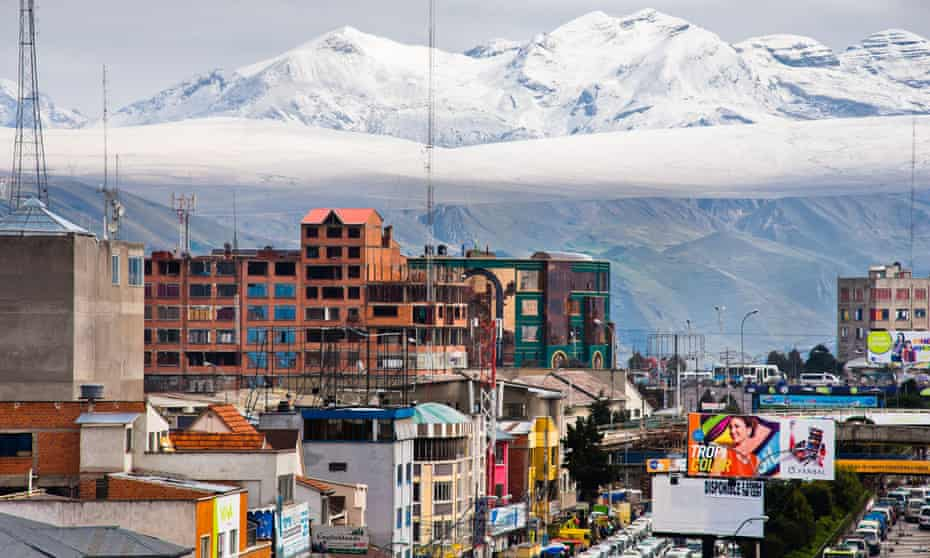 Peak experience… the snow-covered Andes form a backdrop to the city of El Alto, Bolivia.