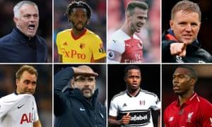 (Clockwise from top left) José Mourinho, Nathaniel Chalobah, Rob Holding, Eddie Howe, Daniel Sturridge, Ryan Sessegnon, Pep Guardiola and Christian Eriksen.