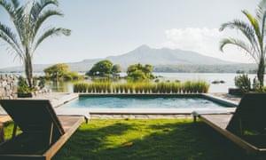 Isleta El Espino, Nicaragua - the view across the lake to the volcano