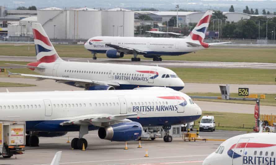 British Airways planes on runway