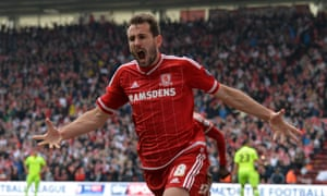 Middlesbrough's Christian Stuani celebrates after opening the scoring.