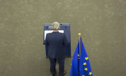 Jean-Claude Juncker delivers his address to the European parliament. He warned that the EU was in greater danger than ever before, with greater levels of selfishness, nationalism and parochialism.
