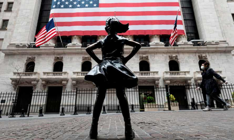 The Fearless Girl statue outside the New York Stock Exchange in April this year.