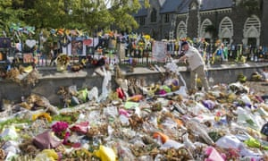 Tributes, flowers and messages for the victims of the mosque shootings.