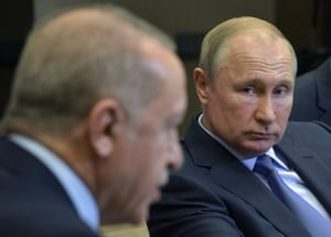 Vladimir Putin and Recep Tayyip Erdoğan during their meeting in Sochi, Russia, on Tuesday.