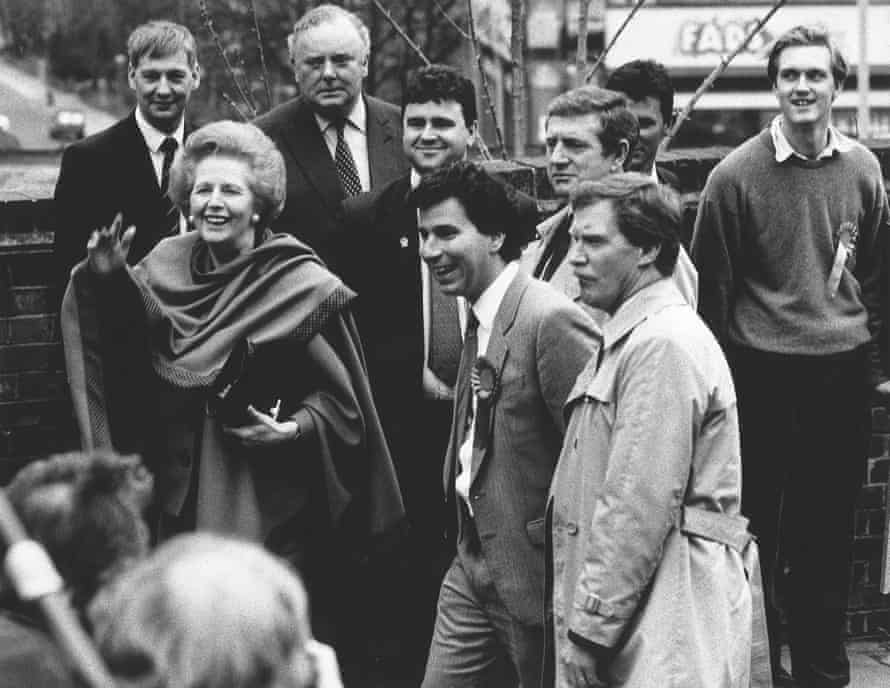 Margaret Thatcher lends her support to Letwin's 1992 parliamentary bid.