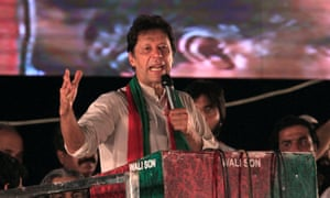 Opposition leader Imran Khan, speaking to supporters during the rally in Islamabad.