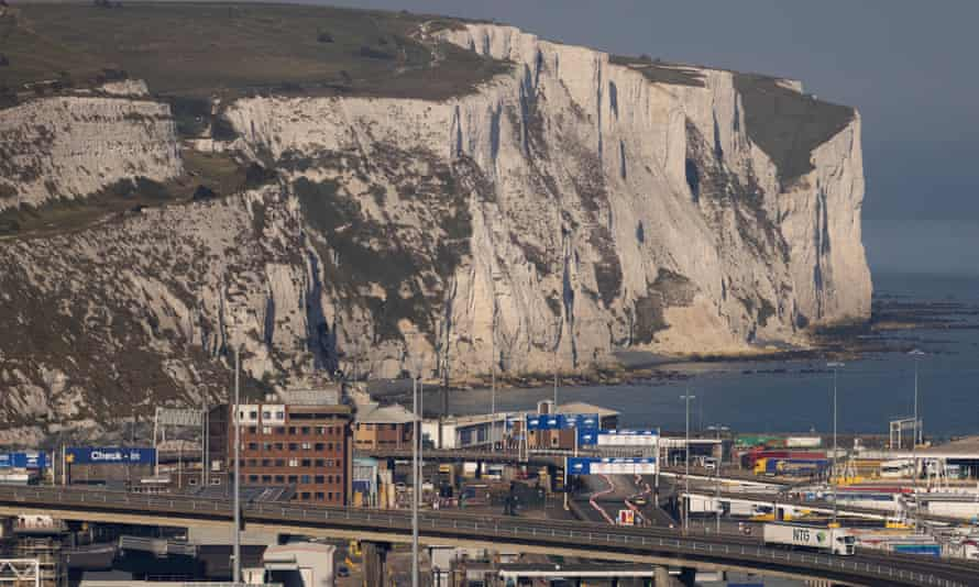 A lorry drives in to Dover port.