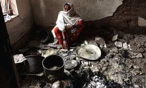 Jamila Khatoon, a 55-year-old Muslim woman at her house in Telinipara, two days after it was violently attacked by a Hindu mob. The attackers threw Molotov cocktails to set it on fire and used a gas cylinder to trigger a big explosion.