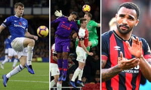 Everton's Séamus Coleman; Liverpool's Virgil van Dijk gets cleaned out by Arsenal's keeper Bernd Leno; Bournemouth's Callum Wilson.