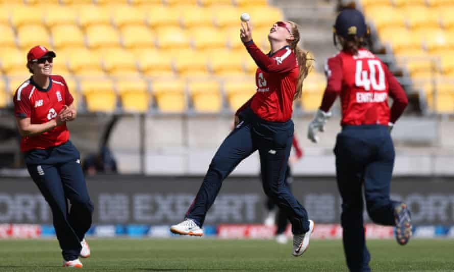 England's Sophie Ecclestone celebrates catching New Zealand's Amelia Kerr during the tourists' seven-wicket T20 victory in Wellington