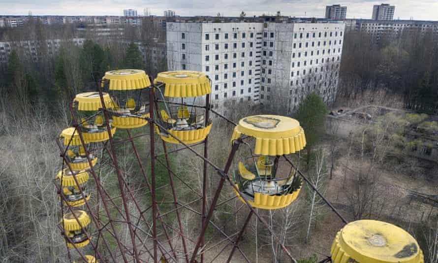 An abandoned carousel near Chernobyl nuclear power plant, Ukraine.