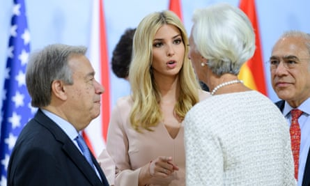 Ivanka Trump, centre, talks to the IMF chief Christine Lagardeas the UN secretary general António Guterres looks on.