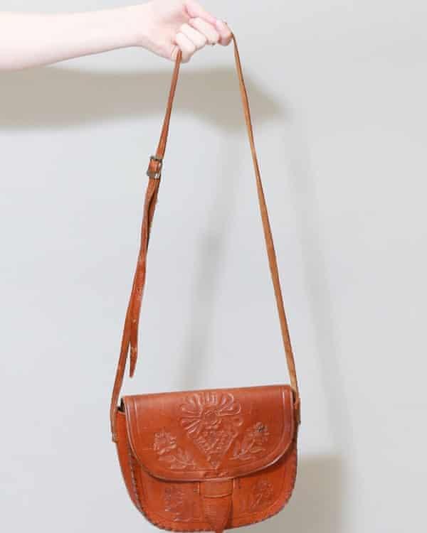 Vintage 1970s Brown Tooled Floral Leather Shoulder Bag from Peekaboo Vintage
