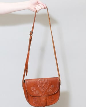 Vintage 1970s Brown Tooled Floral Leather Shoulder Bag from Peekaboo Vintage