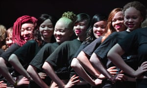 Contestants pose on stage during a pageant hosted by the Albinism Society of Kenya.