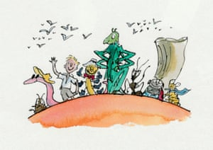 Quentin Blake's cover illustration from James and the Giant Peach, 2002