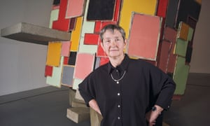 Frances Morris the new director of Tate Modern photographed in front of Phyllida Barlow, untitled: upturnedhouse, 2 (2012) . One of her favourite pieces in the collection