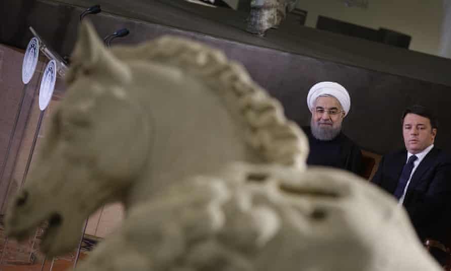 Iranian president Hassan Rouhan and Italian prime minister Matteo Renzi