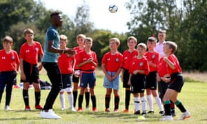 Moussa Djenepo of Southampton during a Saints Foundation soccer school visit in August 2019.