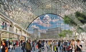 An architect's impression of Birmingham Curzon HS2 station.
