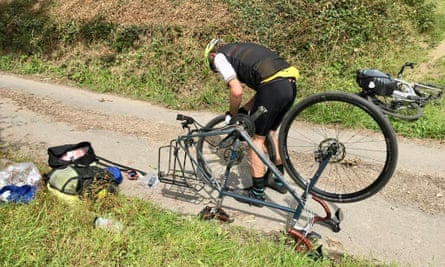 Running repairs: the first of many punctures