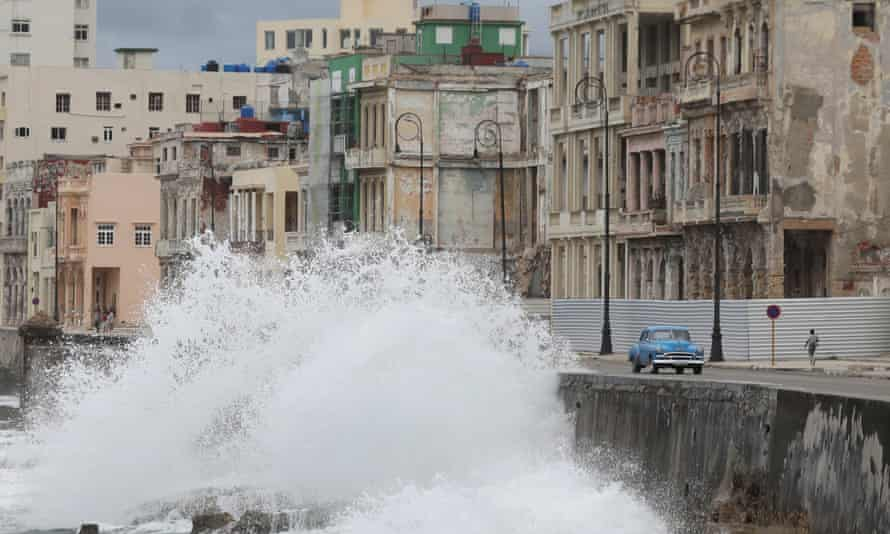 Waves splash at the seafront Malecon during Tropical Storm Laura in Havana, Cuba Monday.