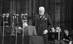 Winston Churchill addresses the Congress of Europe in The Hague in 1948 where closer European union was discussed.