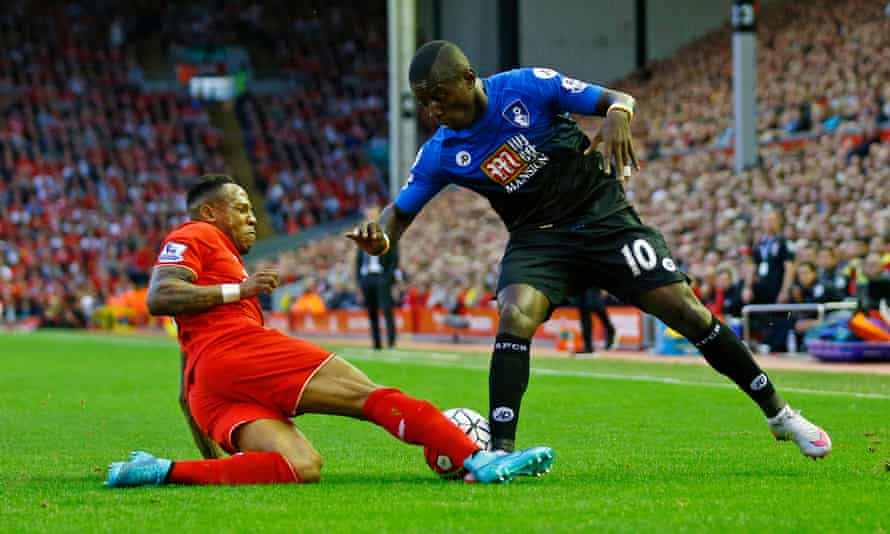 Liverpool's Nathaniel Clyne tackles Bournemouth's Max Gradel.