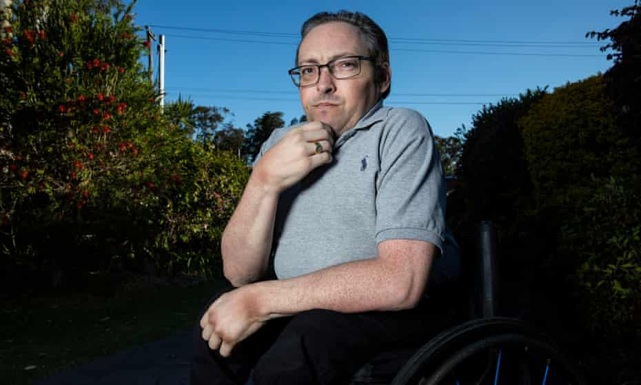 David Belcher, a Lake Macquarie councillor, sits in the drive way of his Brightwaters home on the NSW Central Coast