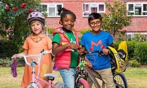 Bella (Summer Jenkins), Sam (Miranda Sarfo Peprah) and Mali (Aamir Tai) in CBeebies' new real-life drama Apple Tree House
