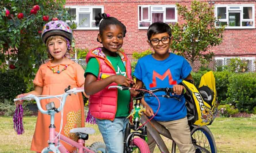 Still from the TV show Apple Tree House, showing three kids with bikes