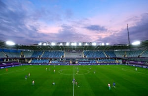A general view of play inside the stadium in Gothenburg.