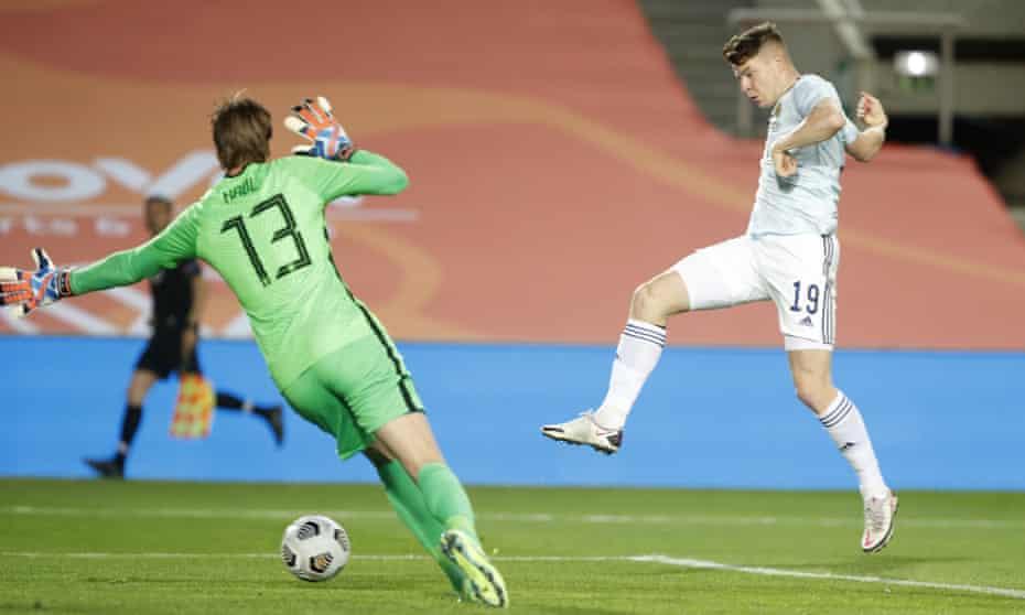 Kevin Nisbet beats Tim Krul to score Scotland's second goal.