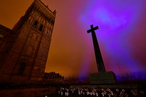 Durham, UK: Methods, an artwork by Pablo Valbuena, illuminates the grounds of Durham Cathedral