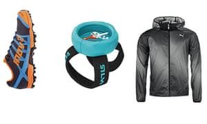 Inov-8 X-Talon shoes, £85, runnersneed.com.  Silva Begin wrist compass, £12.99, upandrunning.co.uk/silva-begin. Puma Packable Woven Jacket, £59.99, sweatshop.com.