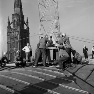 RAF aircrew on roof of Coventry Cathedral