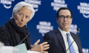 Christine Lagarde, president of the European Central Bank, and Steve Mnuchin, secretary of the US Treasury in Davos.