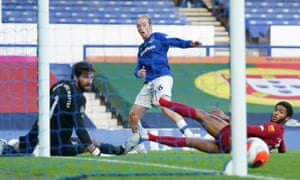 Everton's Tom Davies hits the post.