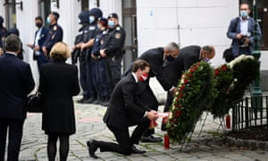 Austrian chancellor Sebastian Kurz attends a wreath laying ceremony after the attack in Vienna.