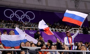 Fans wave Russian flags at the Pyeongchang 2018 Winter Olympic Games.