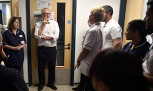 Jeremy Corbyn at Crawley hospital on October 30, the day after MPs voted for a December general election.