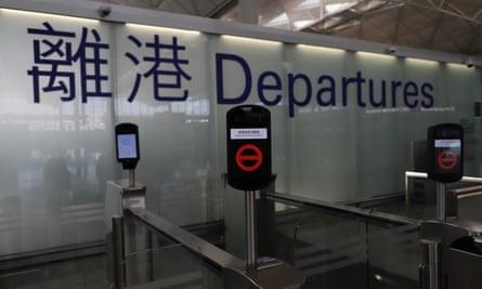 The departure gates at Hong Kong international airport.