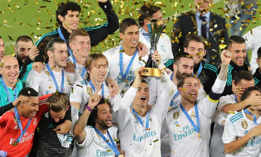 Cristiano Ronaldo and his team-mates lift the Club World Cup.